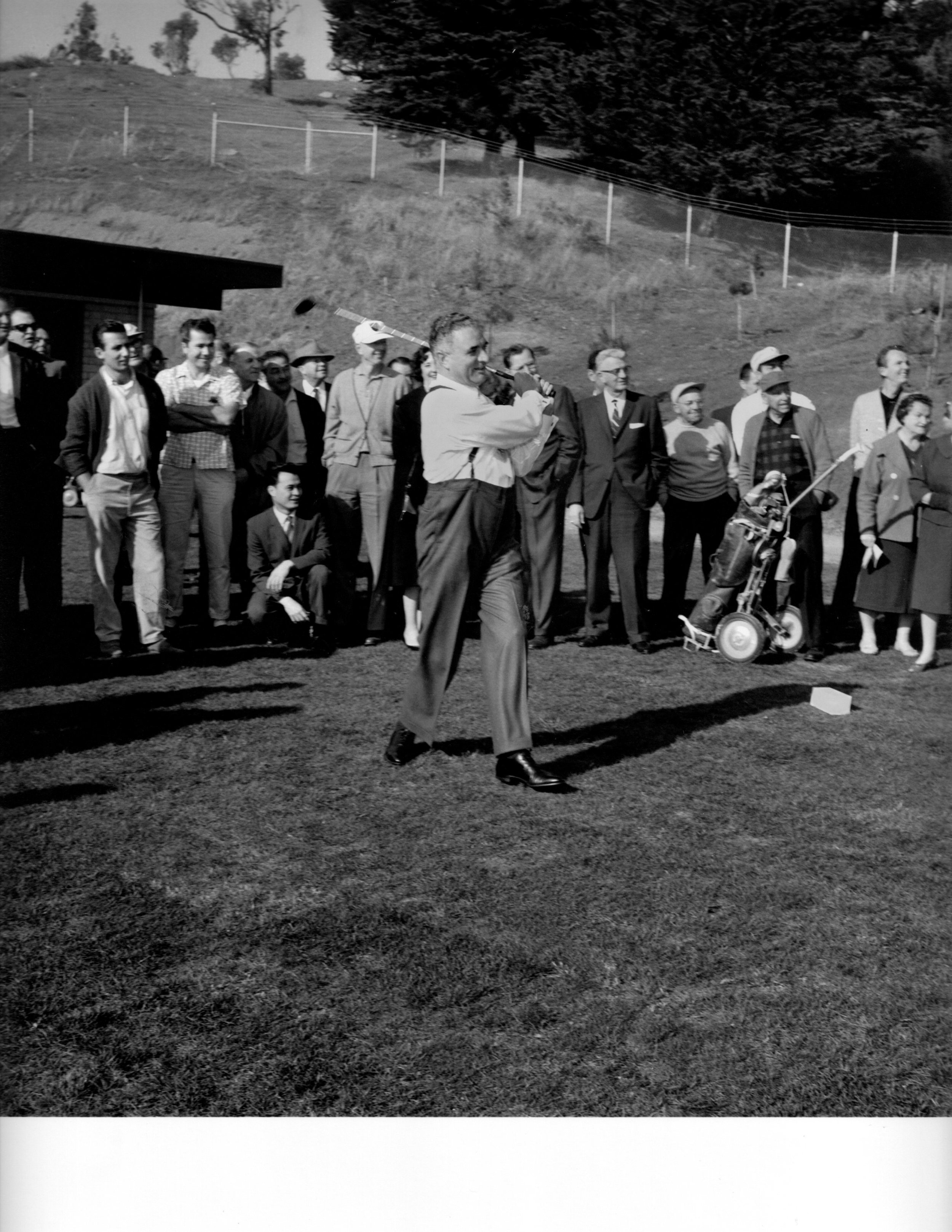 Mayor George Christopher christens the course with the first tee shot.  February 1, 1962 Photo: Doherty/S.F. Examiner