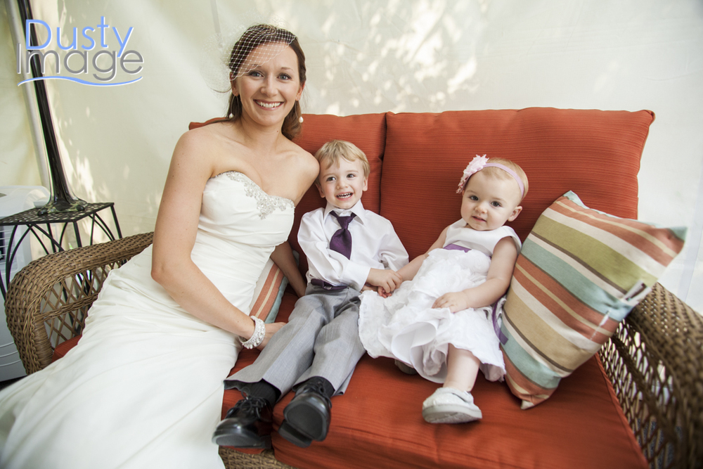 Jennifer in the bridal tent with son Trevor and daughter Chloe.