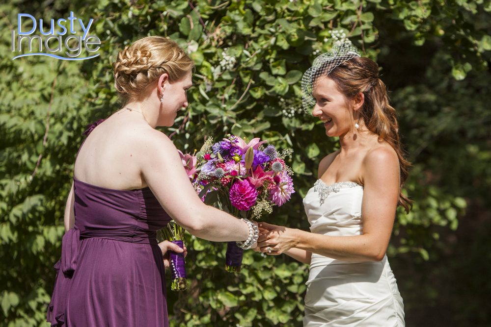 This was right before the butterflies landed on the bouquet!