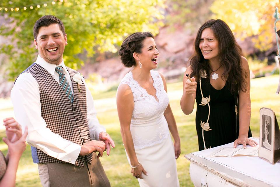 I don't know what was happening at this moment in the marriage certificate signing, but we sure were having a good time ;)