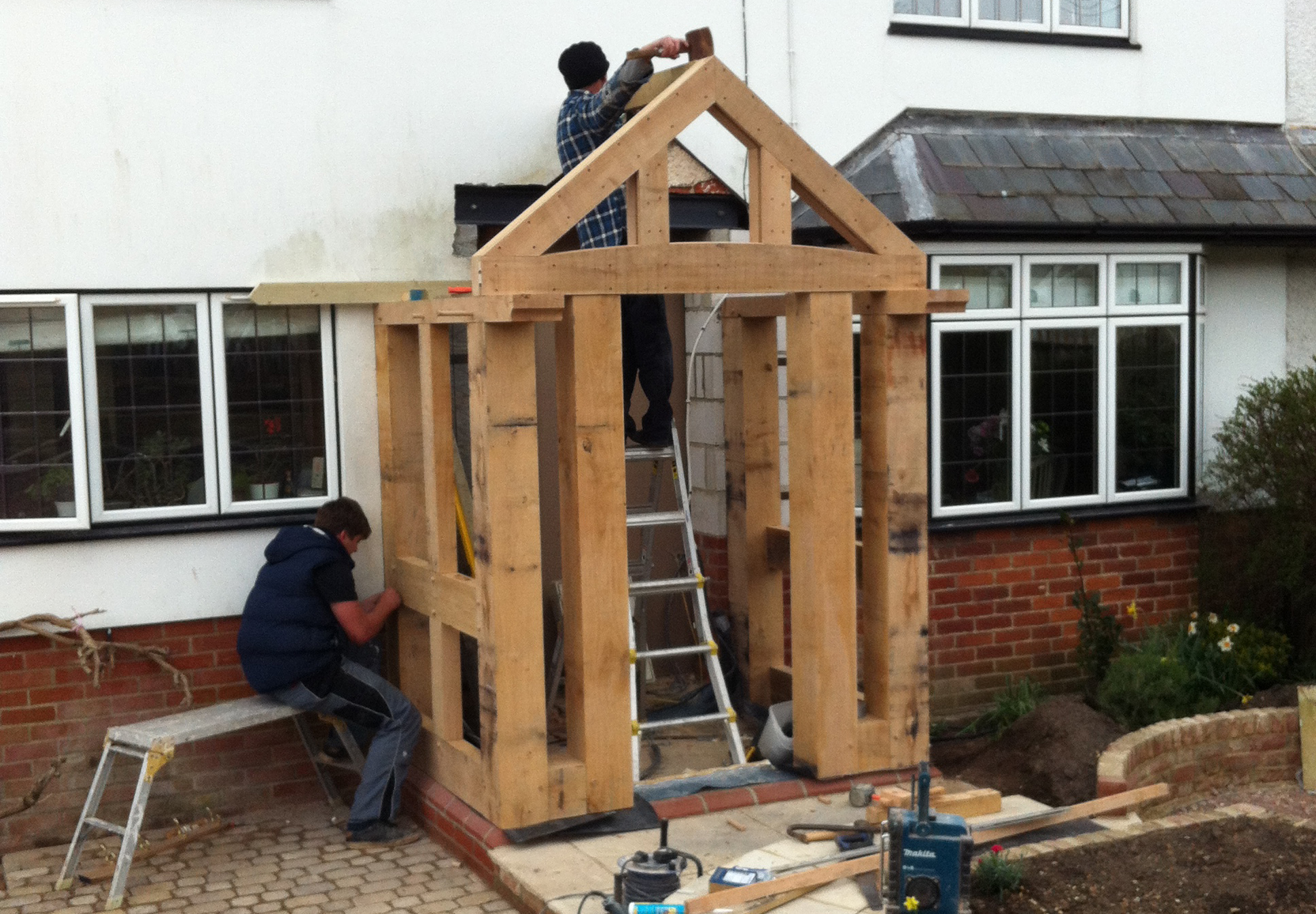 Construction of the new oak porch