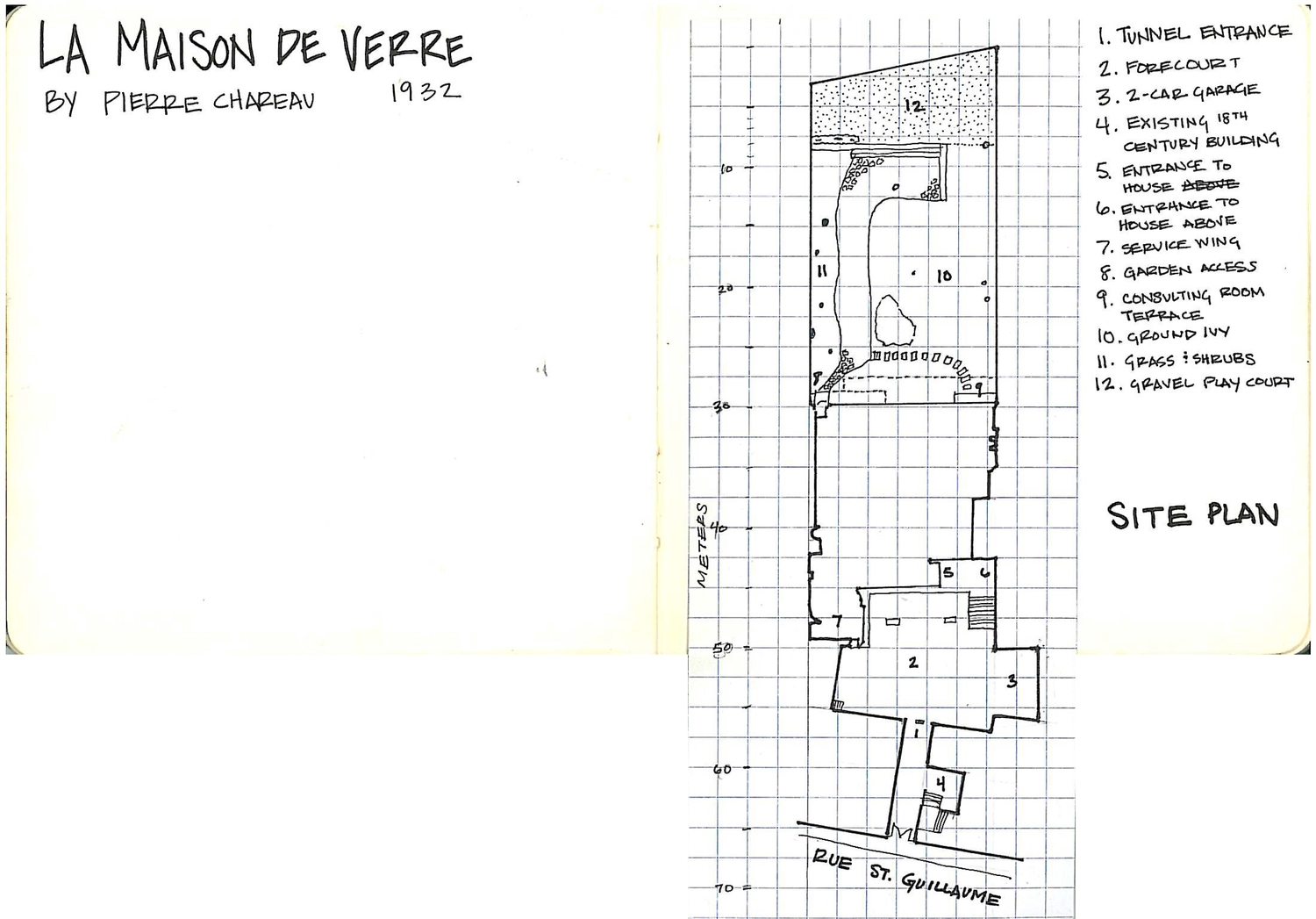 I copied these plans into my sketch book prior to our tour and took notes as I went through.