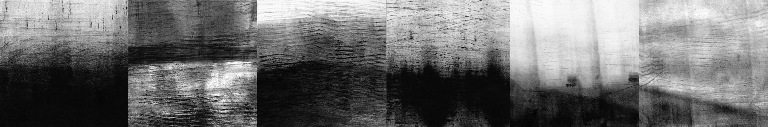 """Overlook"" 2013   8"" x 48""  Inked paper mounted on wood panels"