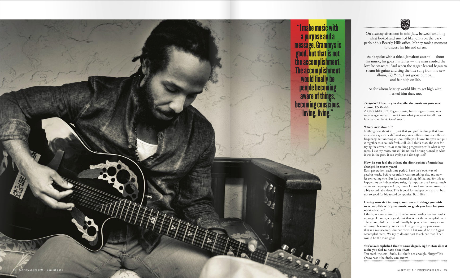 Ziggy Marley playing guitar at home