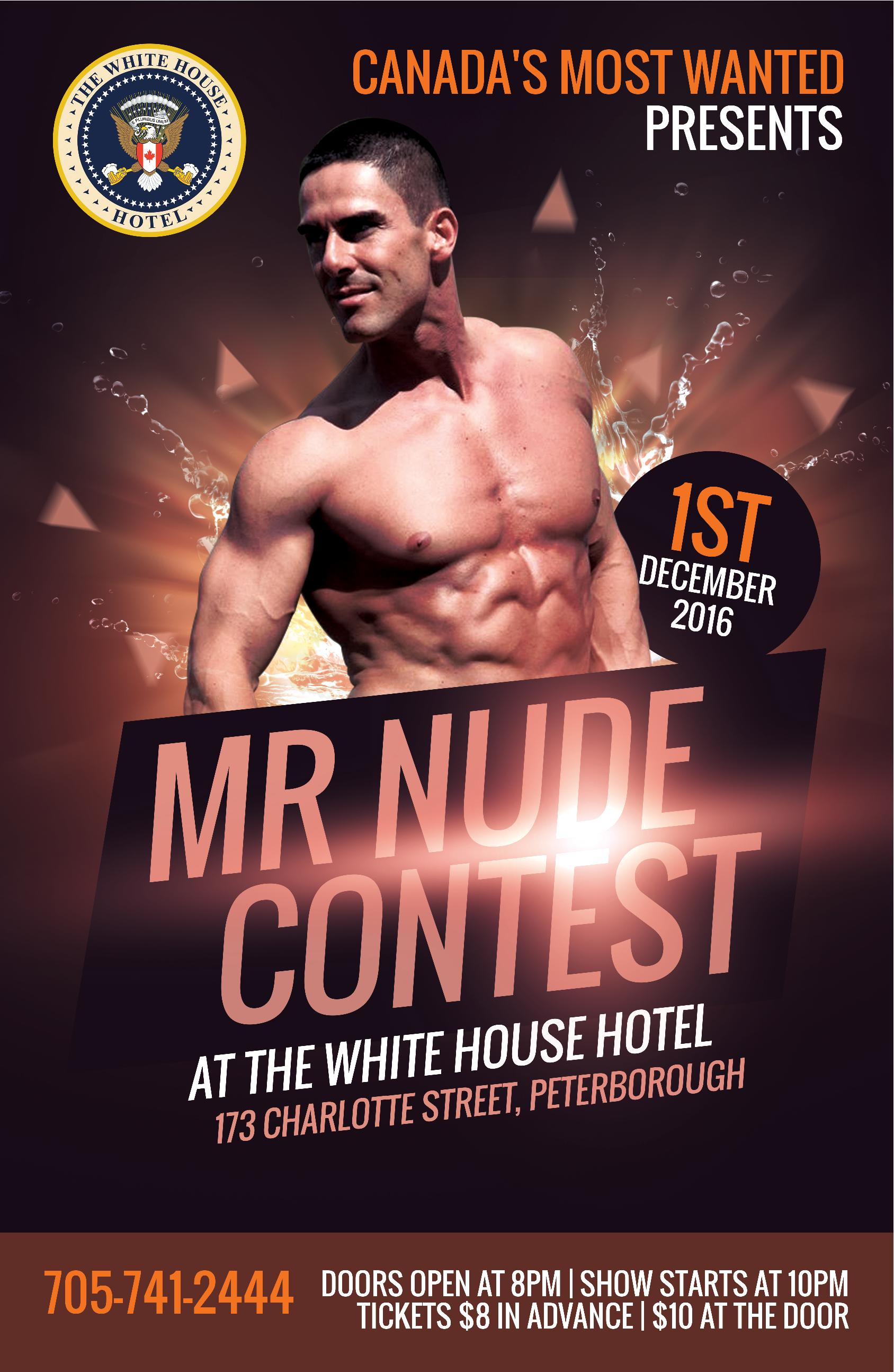 Join us December 1 to vote on who will win the title of Mr. Nude Peterborough. Tickets are $8 in advance or $10 at the door. Doors open at 8PM, show starts at 10PM