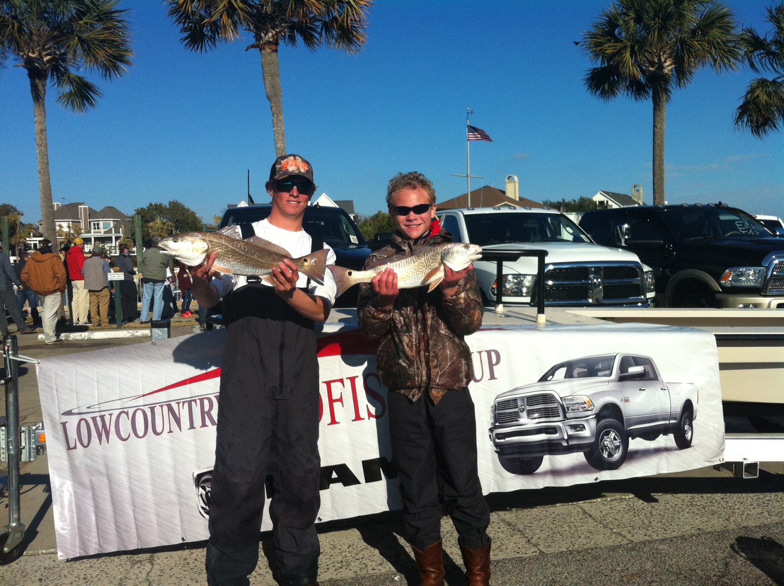 My friend Jonathan and I tied for first with two redfish that went 8.07 pounds.