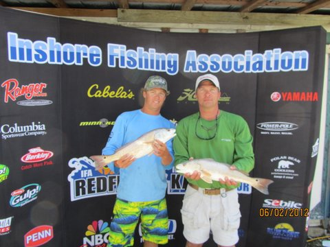 We managed two reds that weighed 7.97 pounds! We missed first place and a brand new ranger boat by a half a pound.