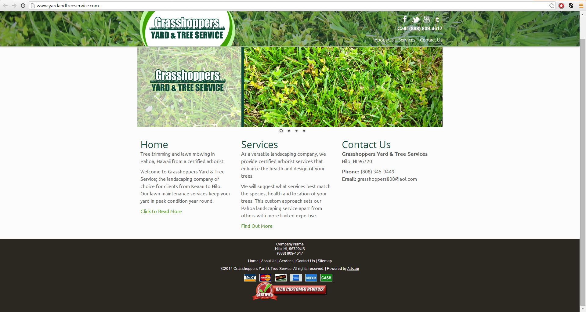 """<a href=""""http://www.yardandtreeservice.com/"""">GrassHoppers Lawn Services</a>"""