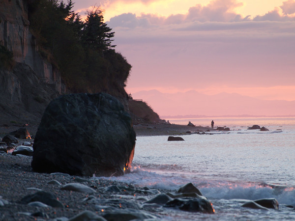 Sunset at North Beach looking toward Vancouver Island