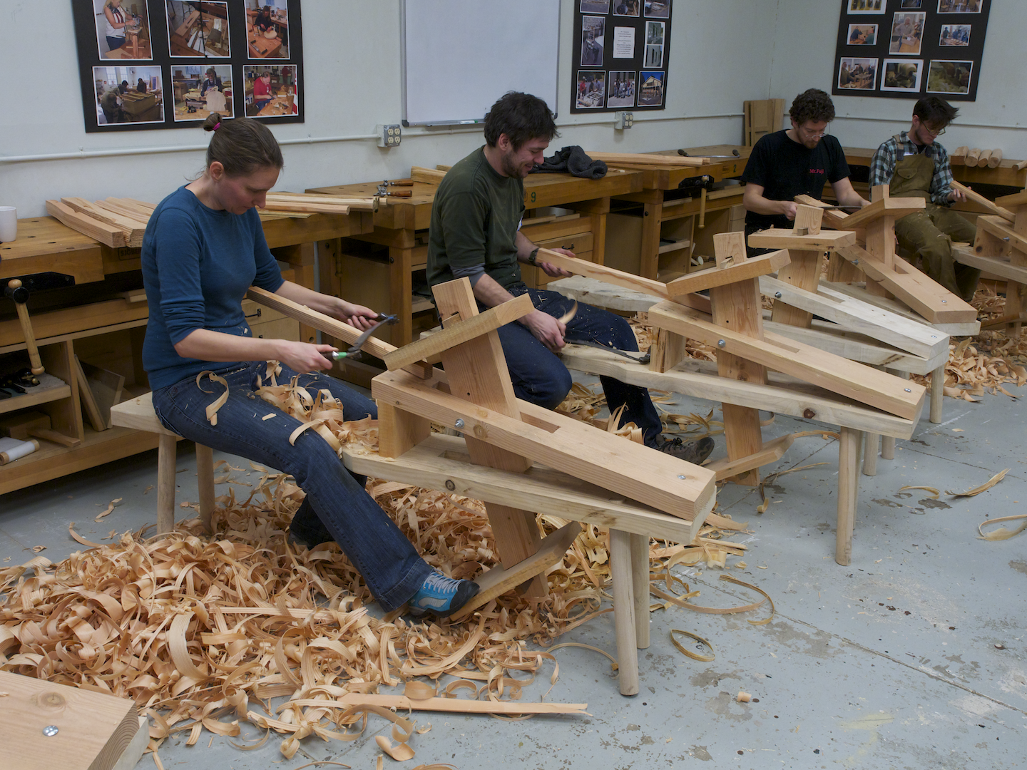 Shaping legs with a drawknife and shave horse