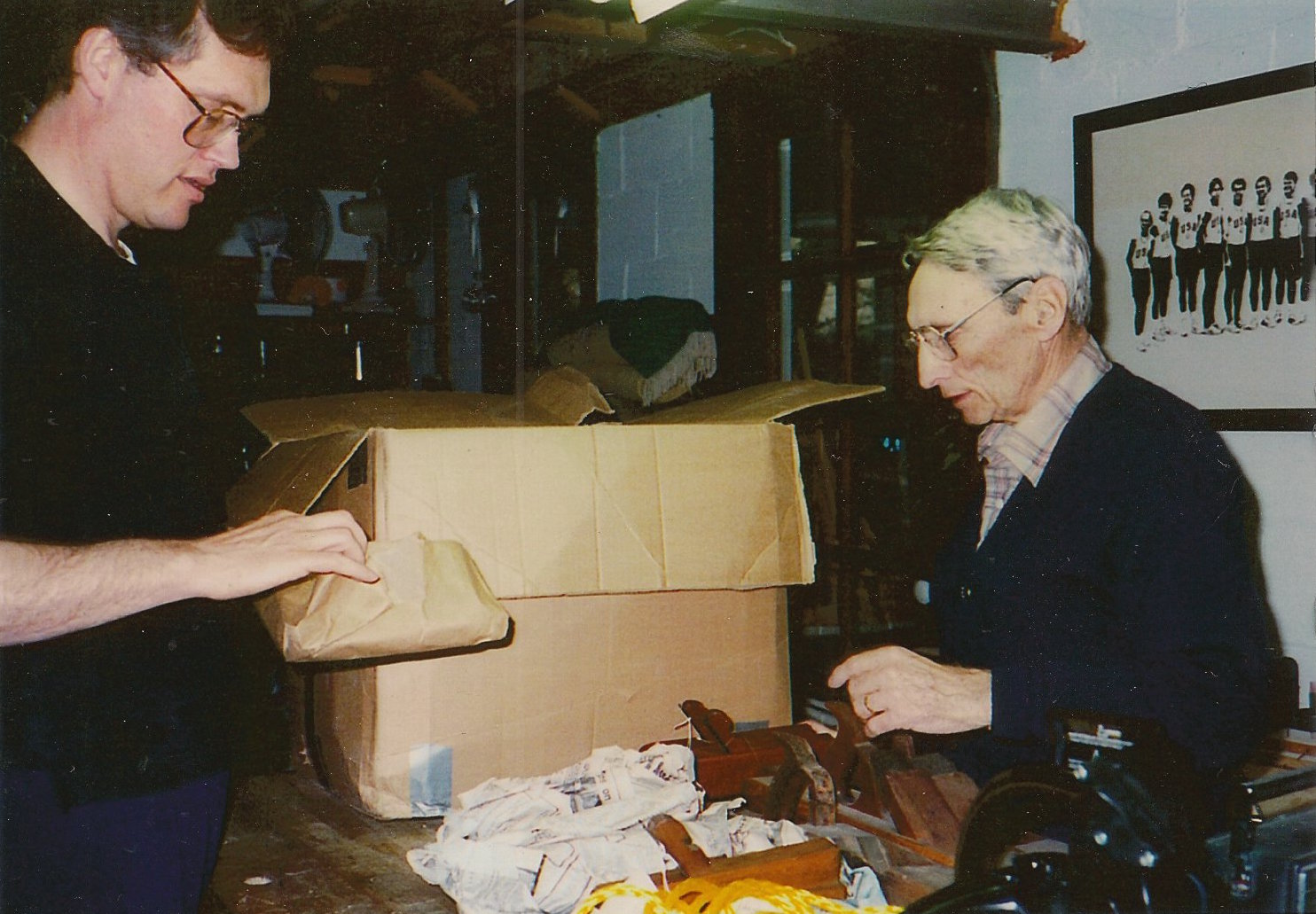 Wendall and me unwrapping some planes I had in WI