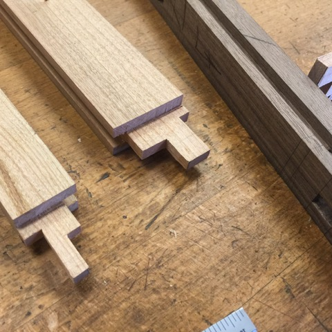 The quarter inch by quarter inch through-tenons for Raphael's final project.