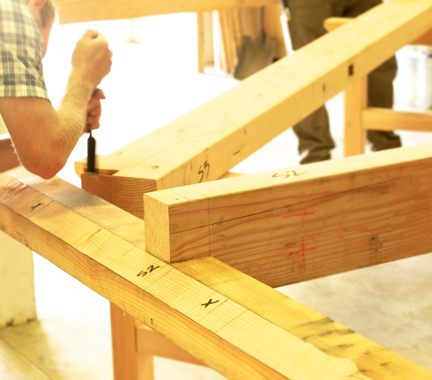 dry fitting the timber frame