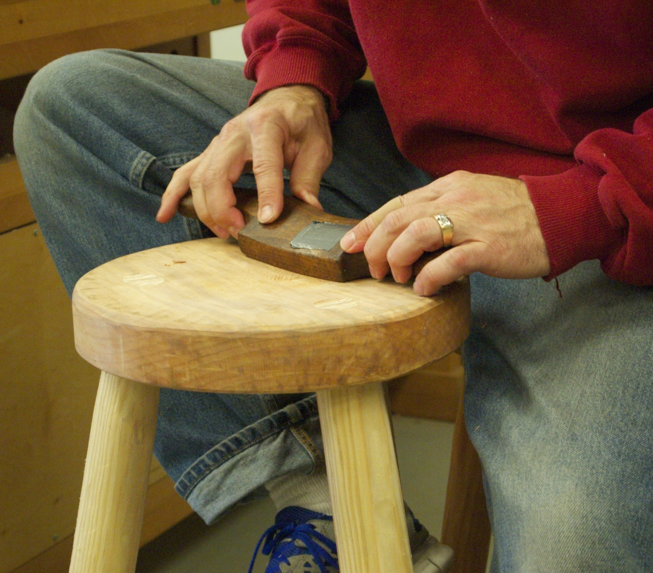 Copy of Copy of shaping the seat-three legged stool project