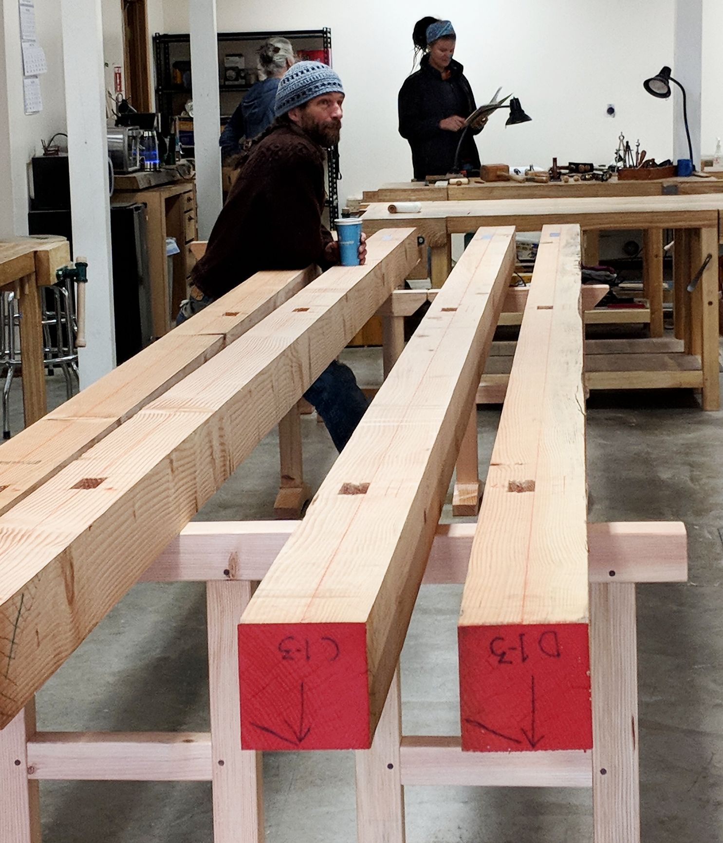 Timbers with mortises supported by timber horses