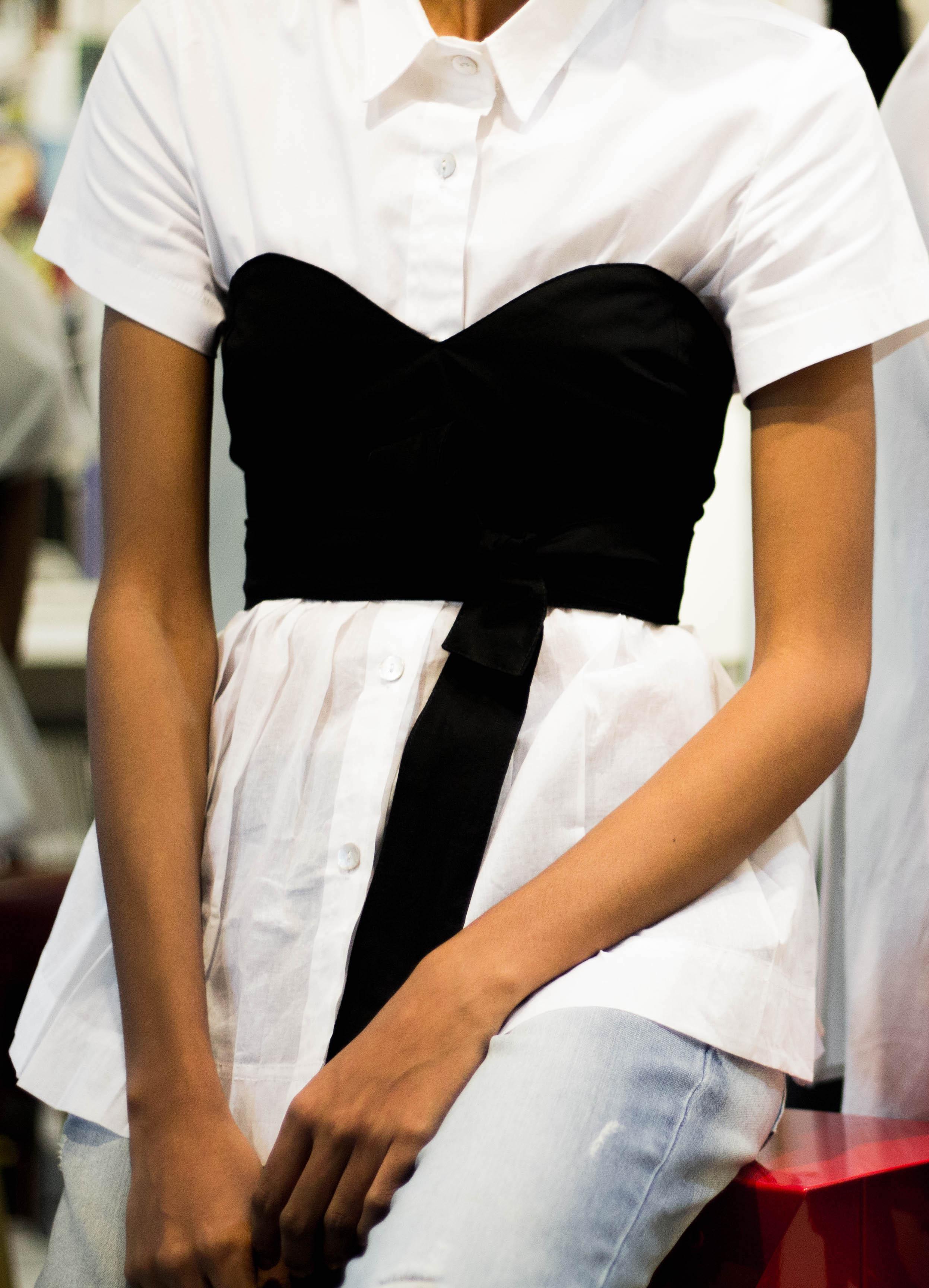 Pleated Peplum White Shirt (Back to Back)