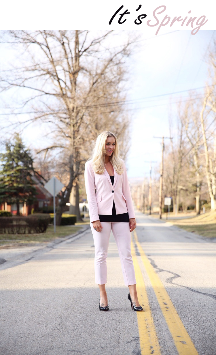 This pretty pink suit is from New York and Company.