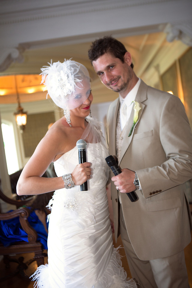 """No, we are not singers but when announced into our reception as Mr. and Mrs we walked in singing """"Lucky"""" by Jason Mraz and Colbie Caillat. We may have not sounded perfect but the shock value was worth it!"""
