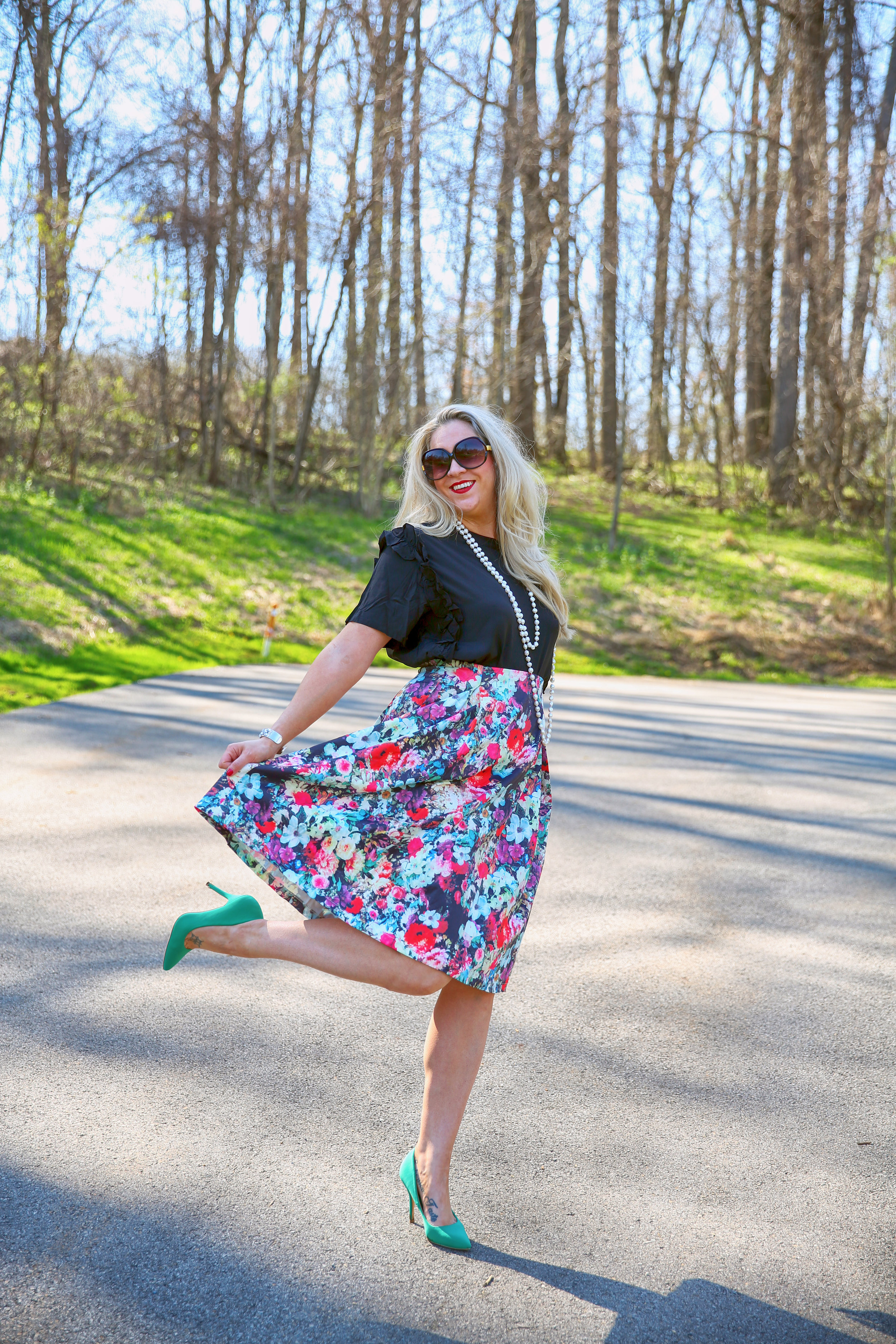 Top: https://www.everlyoak.com/collections/blouses/products/ivy-blouse  Skirt: https://www.everlyoak.com/collections/skirts/products/fiona-floral-skirt