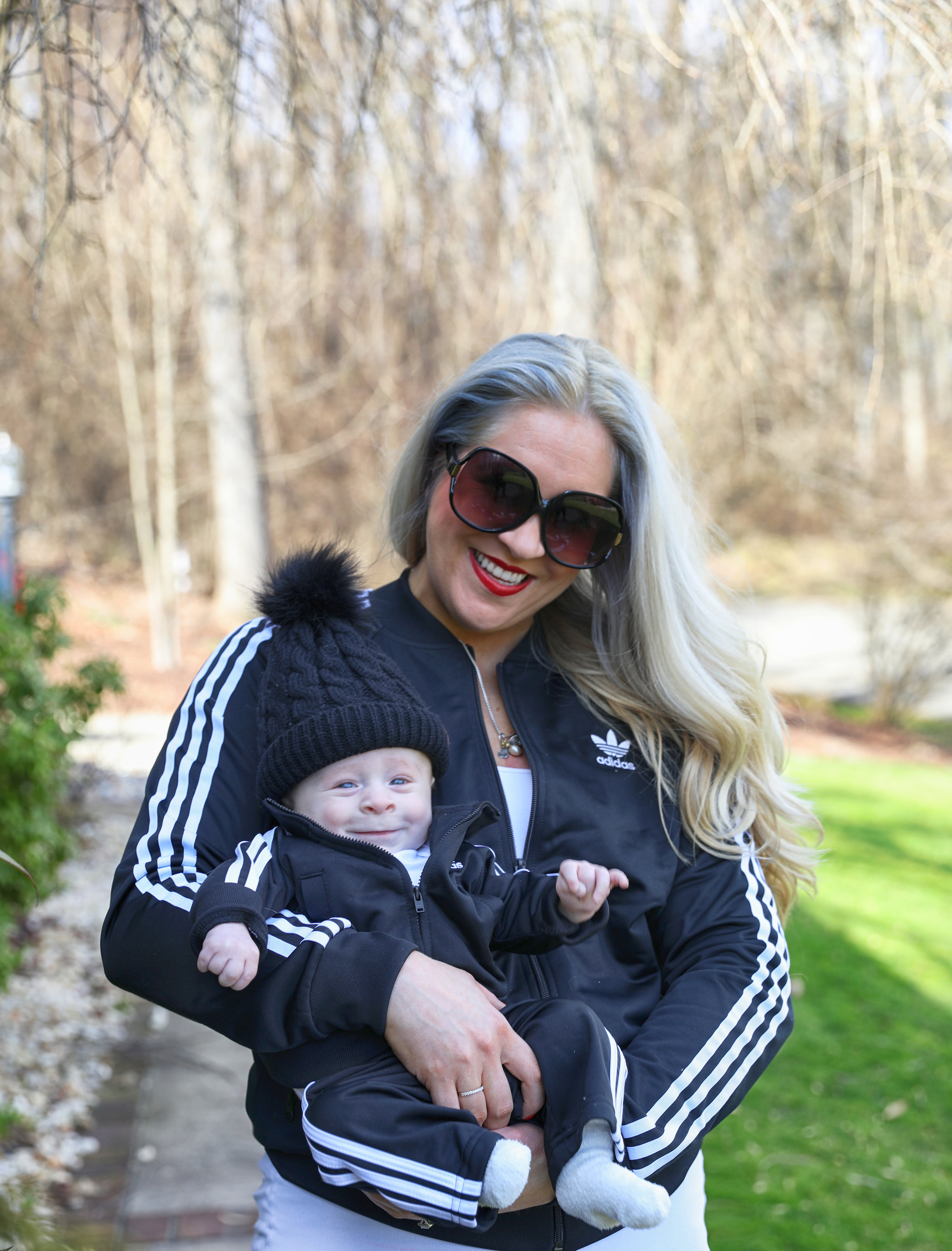 Thanks to my own Mom for hooking Theo and I up with these matching Adidas tracksuits!