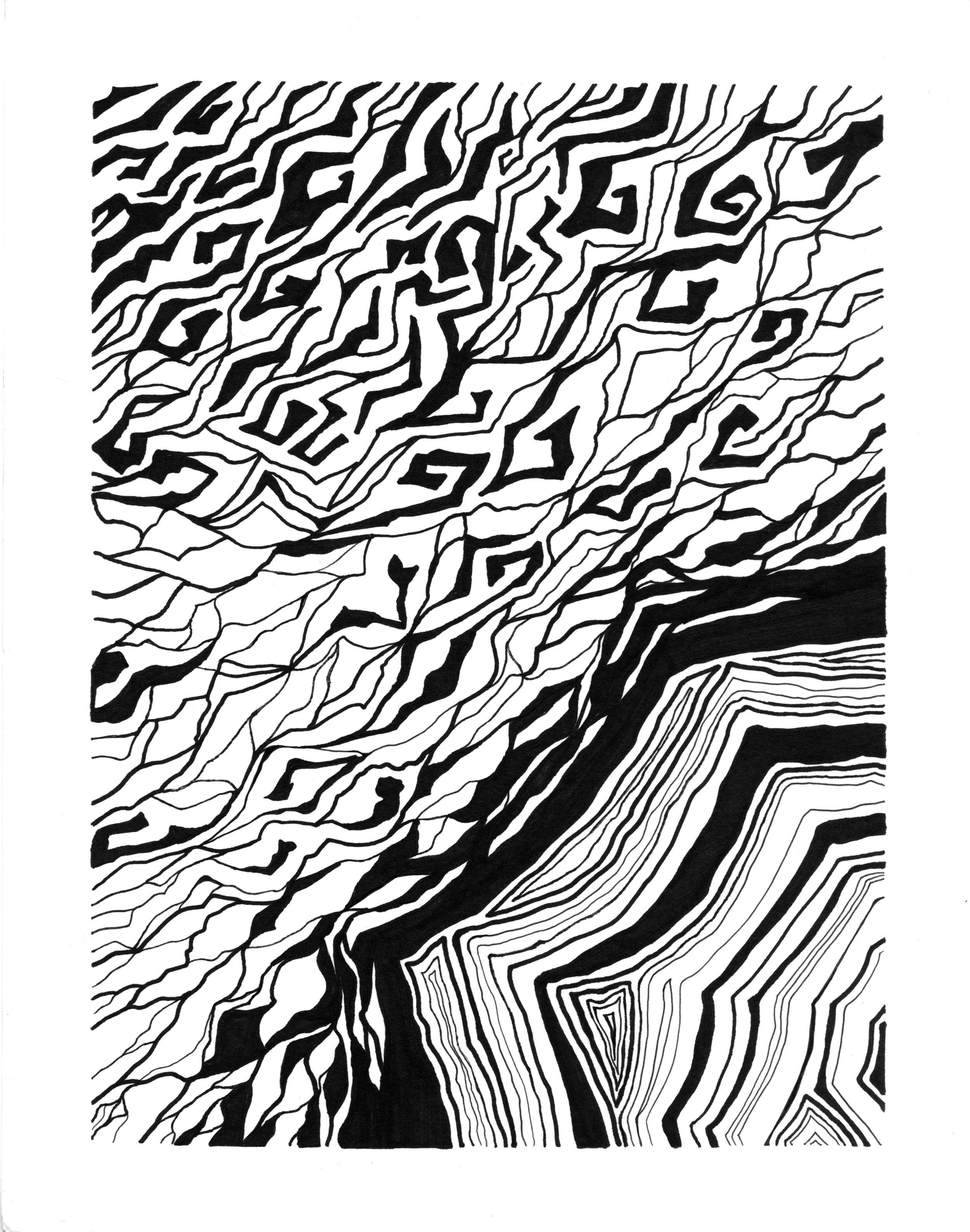 """2D Design - ink on paper, 9""""x12"""""""