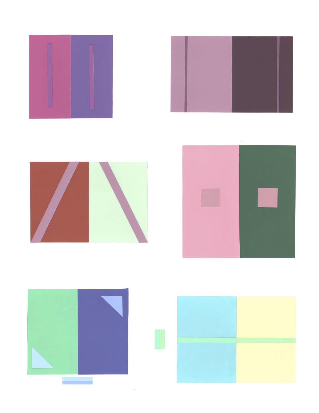 """Color Theory - cut paper, 4""""x4"""" ea"""