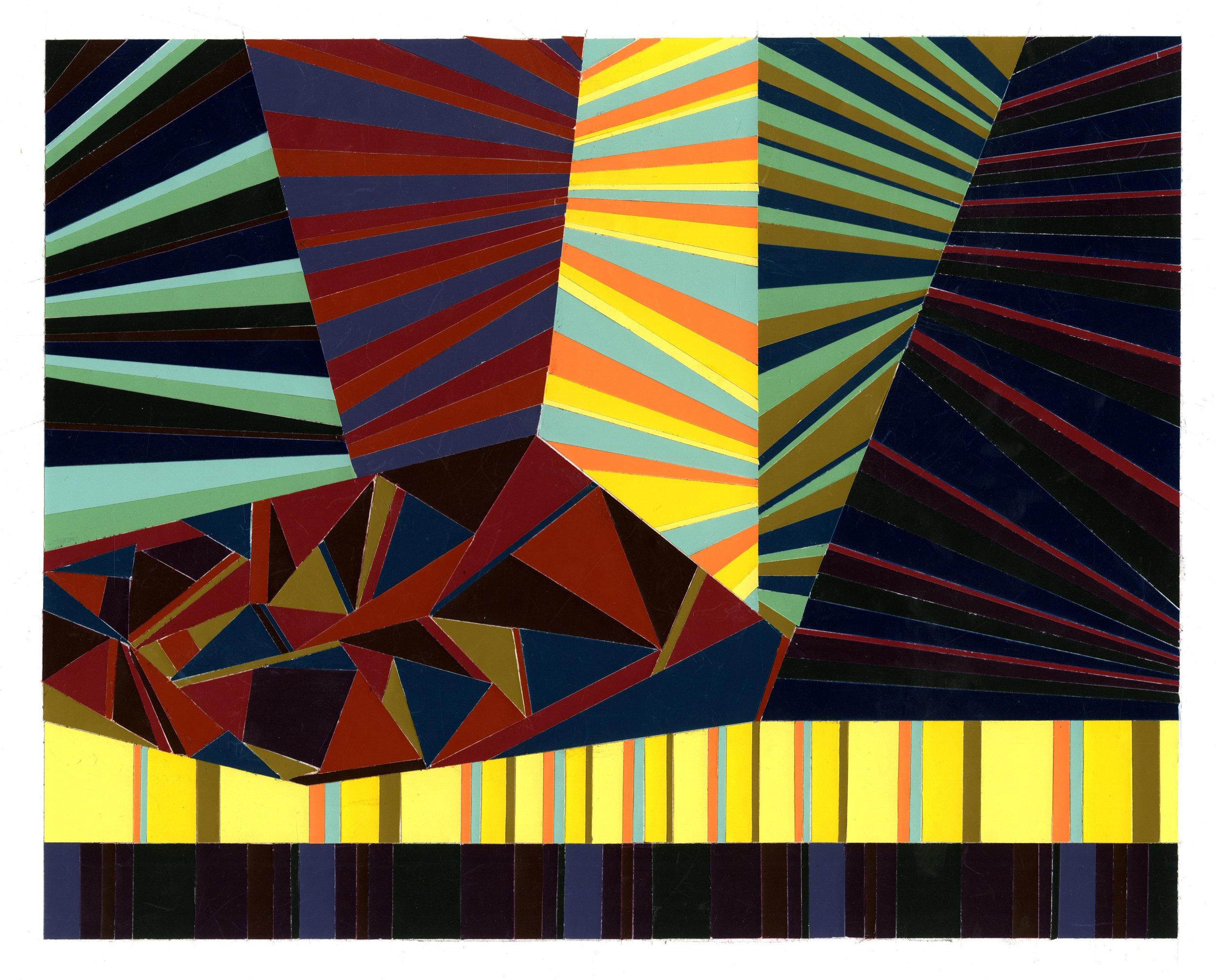 """Color Theory - cut paper, 16""""x12"""""""
