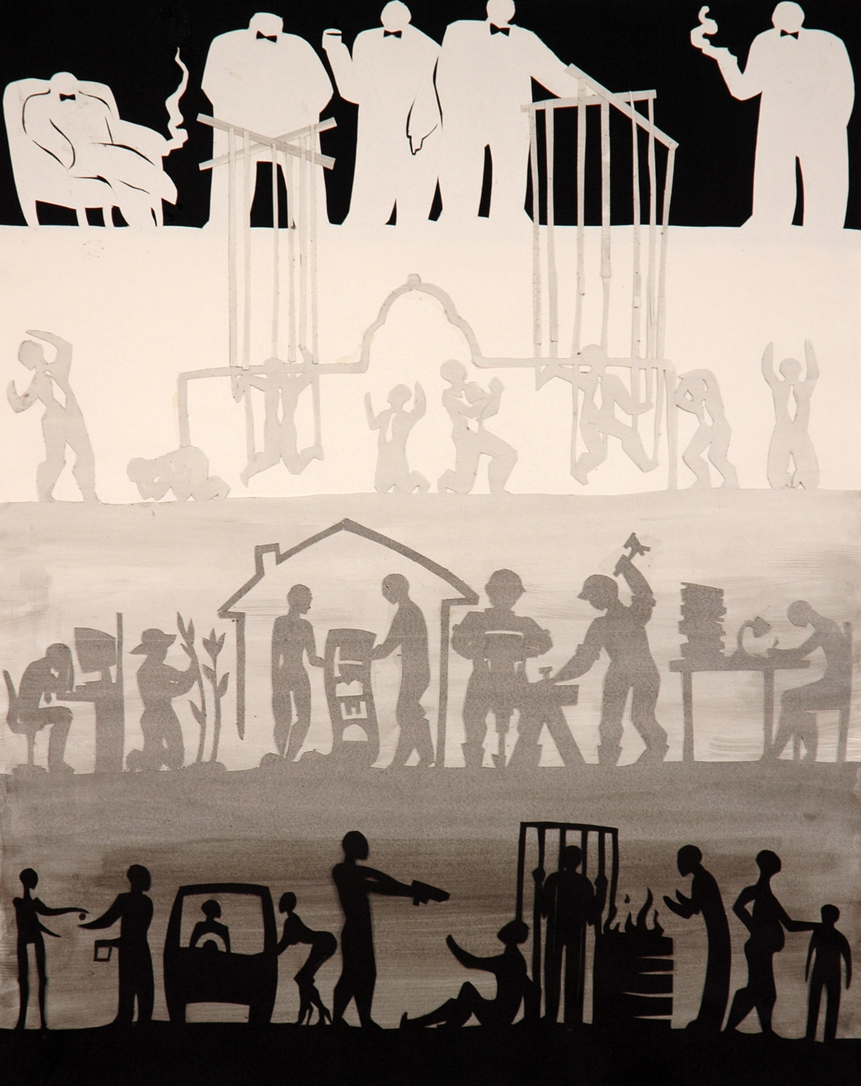 "2D Design - ink collage, 18""x24"""