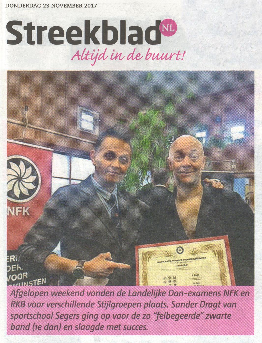 2017-11-23 Streekblad Sander Dragt Zwarte Band 1e dan Shaolin Kempo.jpg