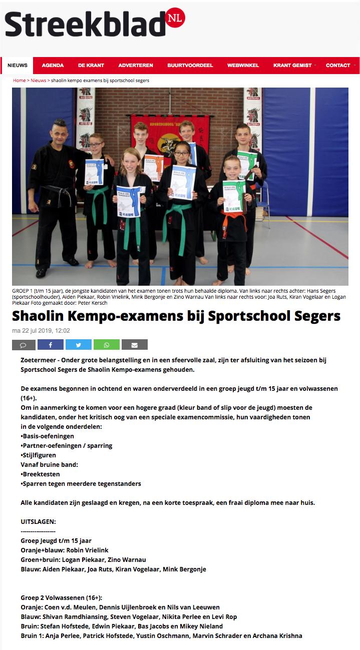 2019-07-22 Streekblad Shaolin Kempo-examens bij Sportschool Segers Edit.jpg