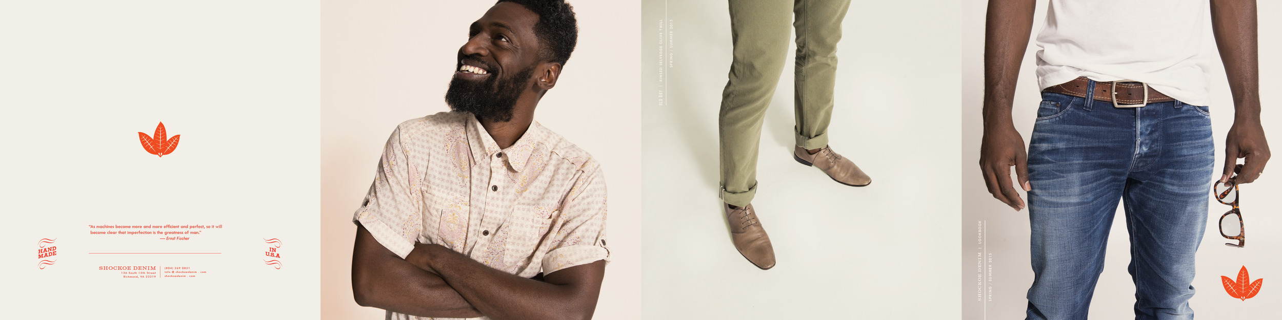 Shockoe Denim Lookbook 2015, showcasing amazing new washes and lines. Cover is far right. Backcover far left.