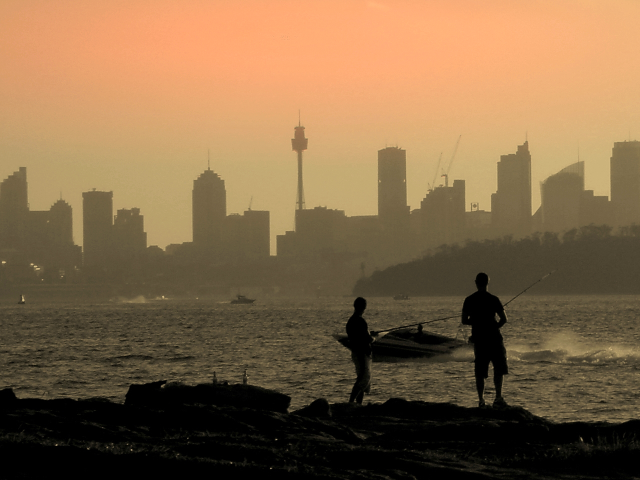 Fishing at Watsons Bay at Sunset 3b.jpg