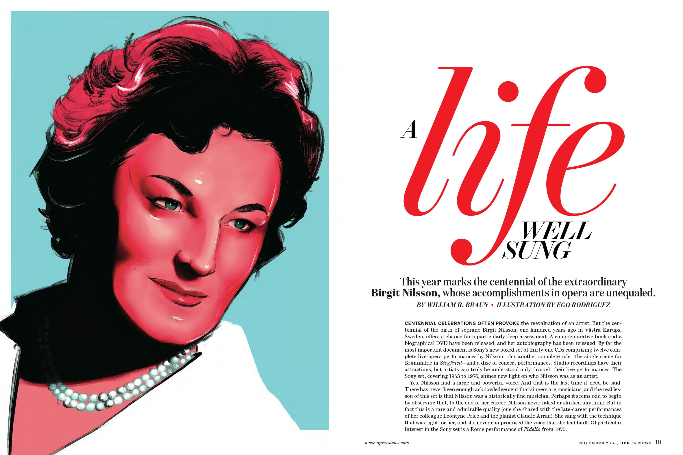 birgit nilsson- opera news - cover and inside feature for diva issue 2018