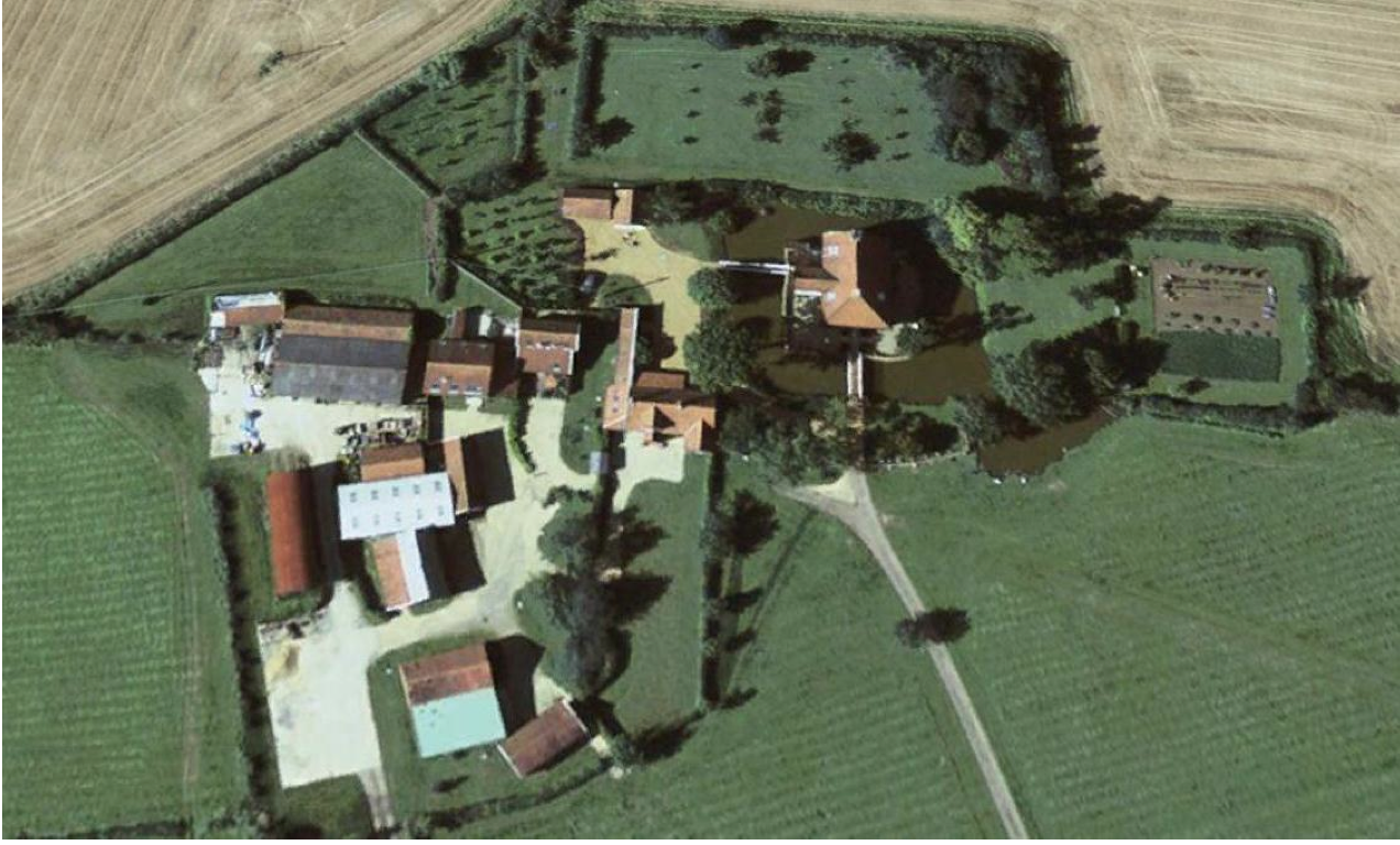 Fig.42 Aerial photograph of the building group, August 2007       Building: May 1999,  Desc of building,  Construction materials,  Map evidence,  Visual appraisal     1.   Granary /  4-bay cart-shed open-sided to N,  Timber-frame and red brick (monk bond),  1842x1884,  Mid C19    2.  Office / store,  Timber-frame,  1904x1975,  Early C20    3 and 4.  Annexe accom. (Chestnut Cott.),  Timber-frame,  1842x1884,  Mid C19    5.  Single residence (5 Lodge Farm),  Red brick (monk bond),  1842x1884,  Mid C19    6.  Single residence (6 Lodge Farm),  Red brick (monk bond),  1884x1904,  Late C19    7.  5-bay cow-house,  Timber-frame,  1842x1884,  Mid C19    8.  Workshop (attached to 7),  Metal,  1904x1975,  Late C20    9.  4-bay cart-shed open-sided to E,  Timber-frame,  1842x1884,  Mid C19    10.  5-bay dutch barn,  Metal,  1904x1975,  Early C20    11.  6-bay shelter shd. open-sided to S,  Red brick (monk bond),  1884x1904,  Late C19    12.  Loose boxes,  Timber-frame,  1842x1884,  Demo.    N of 4.  Lean-to range,  Red brick (monk bond),  1842x1884,  Mid C19    N of 8.  Shelter shed (attached to 8),  Fletton brick (monk bond),  1904x1975,  Early C20    S of 11.  Covered yard,  Metal,  1904x1975,  Demo.    Note,  Range adjacent to Long Barn,  Red brick (monk bond),  1842x1884,  Mid C19    Fig.43 Analysis of group of buildings adjacent to Letheringham Lodge       Building: May 1999,  Sale Catalogue, Lot 35,  29 April 1919 (SROI, f SC142/1,  Visual appraisal     1.  Brick, timber, and tiled 4-bay waggon lodge, granary over, and lean-to implement shed    Granary / 4-bay cart-shed (open-sided to N)     2.  Office / store    3 and 4.  Plaster and tiled wash house and dairy with room over  Annexe accom. (Chestnut Cottage)    5.  Brick and tiled hackney stable with 2 stalls and loose box,  Single residence (5 Lodge Farm)    6.  Brick and tiled cart horse stable for 12 horses,  Single residence (6 Lodge Farm)    7.  Neathouse to tie 8 cows, calves crib, & chaff house with loft over,  5
