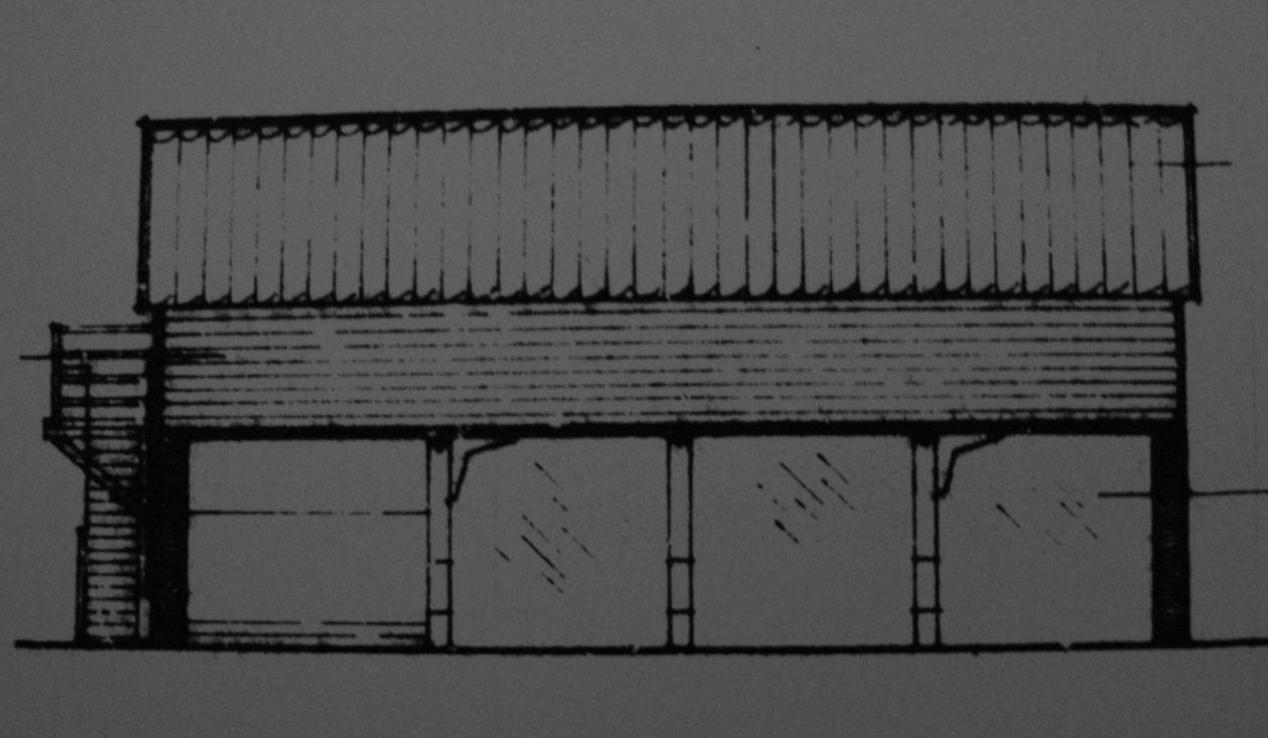 Fig.47 Granary / 4-bay cart-  shed ('existing'   N elev., bldg.1, C/91/0962)
