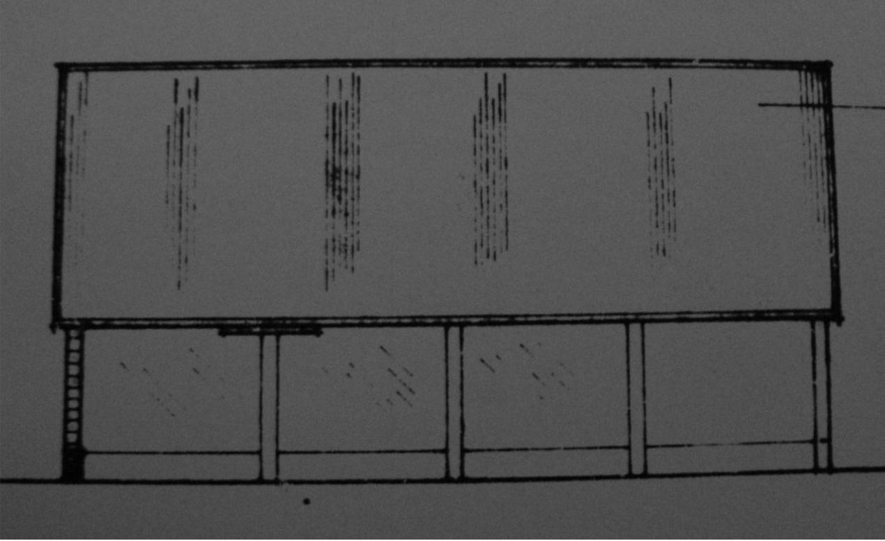 Fig.50 4-bay cart-  shed ('existing'   E elev., building 9, C/91/0962)