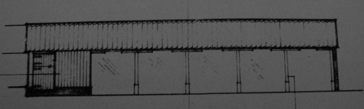 Fig.51 6-  bay shelter shed ('existing'   S elev., building 11, C/91/0962)