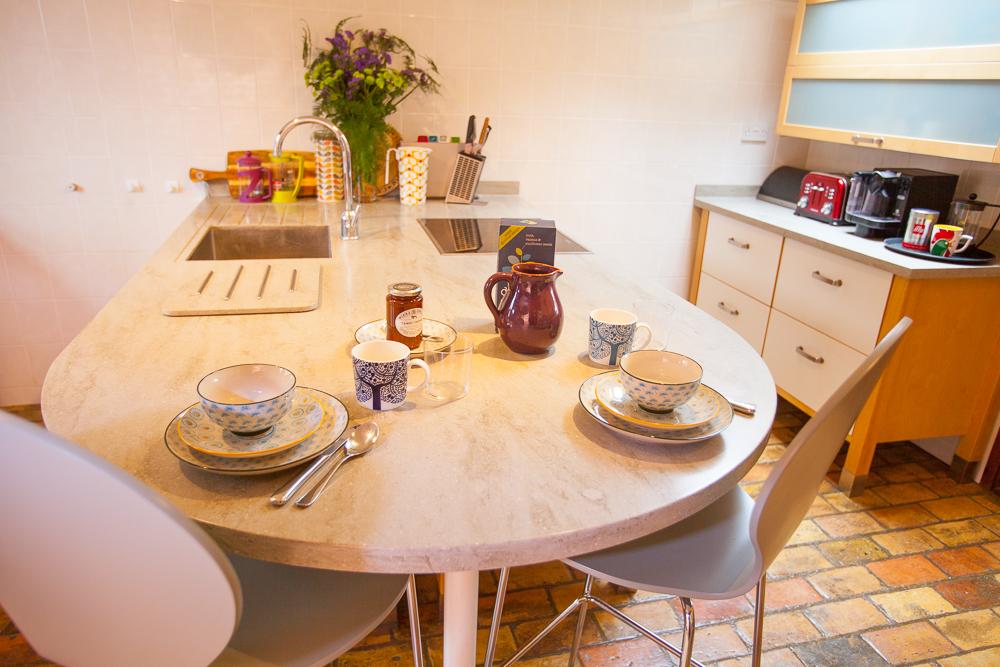 Kitchen Island set for breakfast