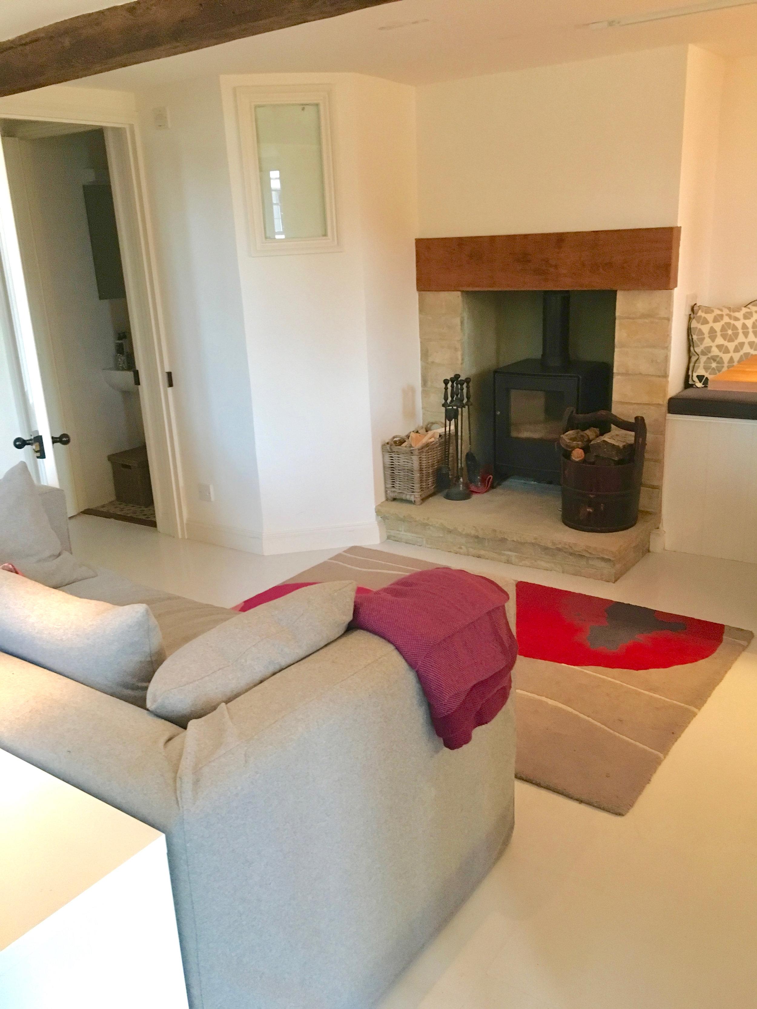 Sofa and woodburner