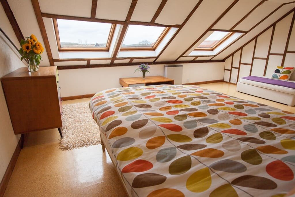 Upstairs main double bedroom with great landscape views