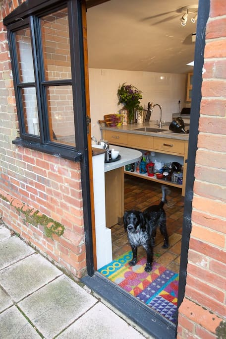 Kitchen leads directly to outside eating area