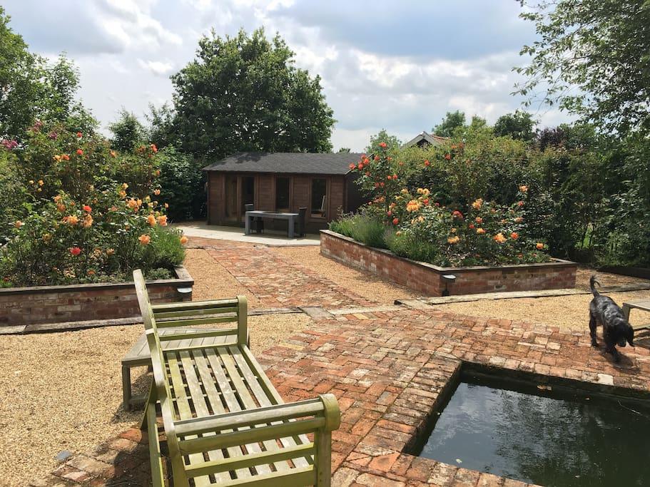 View down garden to yoga studio
