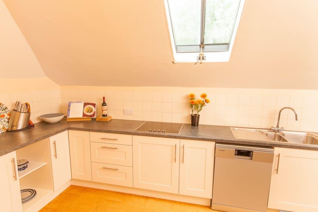 Kitchen with induction range, dishwasher, microwave, washer/dryer, ice maker, massive fridge/freezer