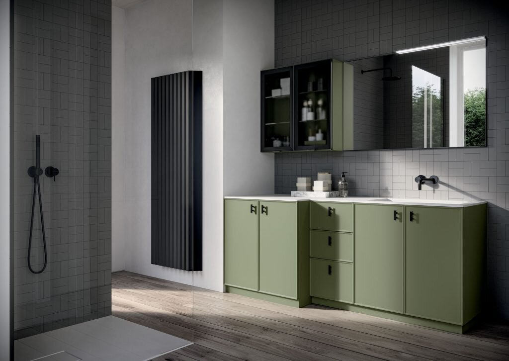 modern bathroom cabinets and mirrors with lots of storage