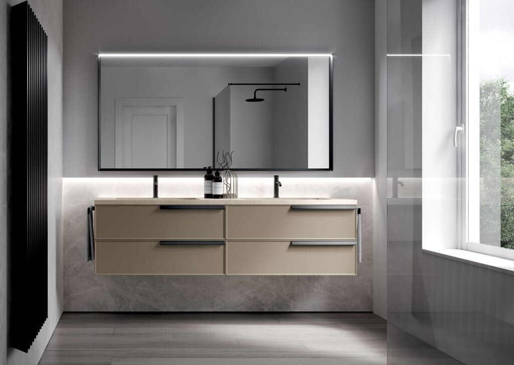 modern bathroom with wall-mounted vanity and large backlit mirror