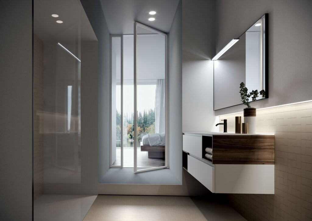 modern bathroom with unique wall-mounted vanity design