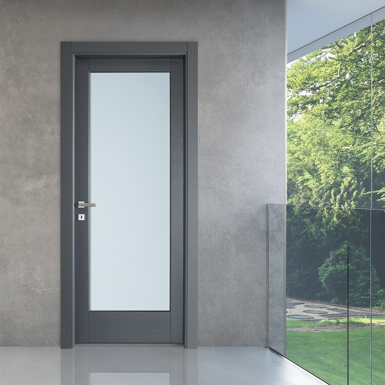 modern interior door designed by Italian manufacturer with single glass pane