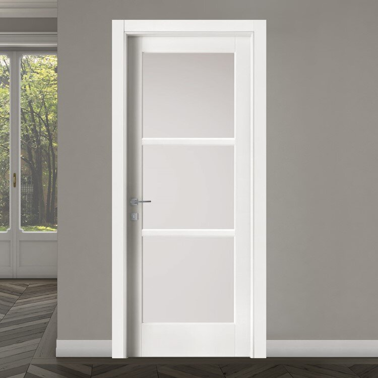 modern interior door in white with three glass panes