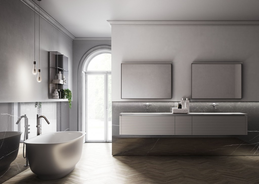 Modern bathroom with floating vanity, two mirrors and curved bathtub