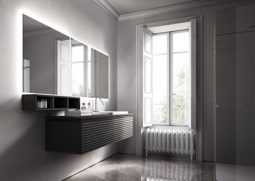 Modern bathroom with floating vanity and large mirror
